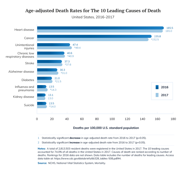 Age-adjusted Death Rates for The 10 Leading Causes of Death Statistic